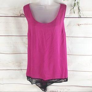 Torrid Hot Pink and Black Lace Split Back Top